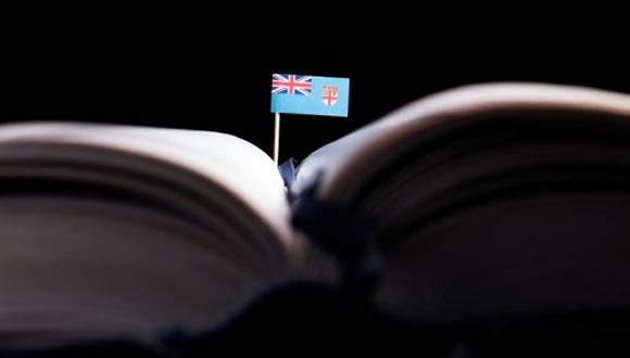 Fiji flag on book