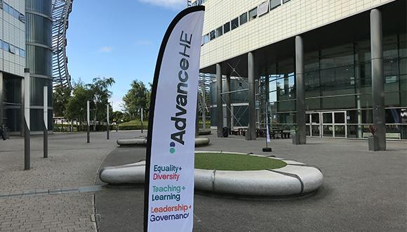 Advance HE banner outside the Teaching and Learning Conference 2019