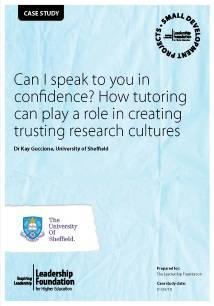 Can I speak to you in confidence? How tutoring can play a role in creating trusting research cultures