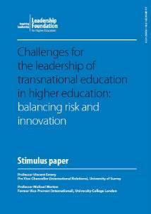 Challenges for the leadership of transnational education in higher education: balancing risk and innovation