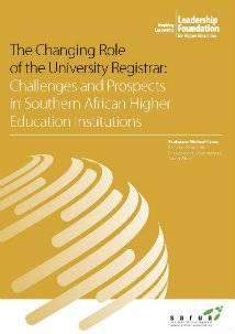 Changing role of the University Registrar