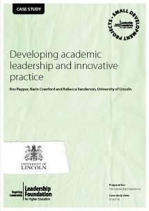 Developing Academic Leadership and Innovative Practice