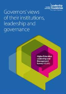 Governors' views of their institutions, leadership and governance