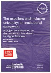 The excellent and inclusive university: an institutional framework