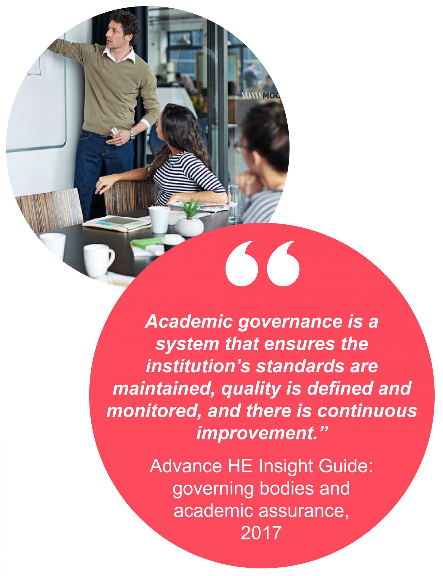 """Academic governance is a  system that ensures the  institution's standards are  maintained, quality is defined and  monitored, and there is continuous  improvement.""  Advance HE Insight Guide:  governing bodies and  academic assurance,  2017"