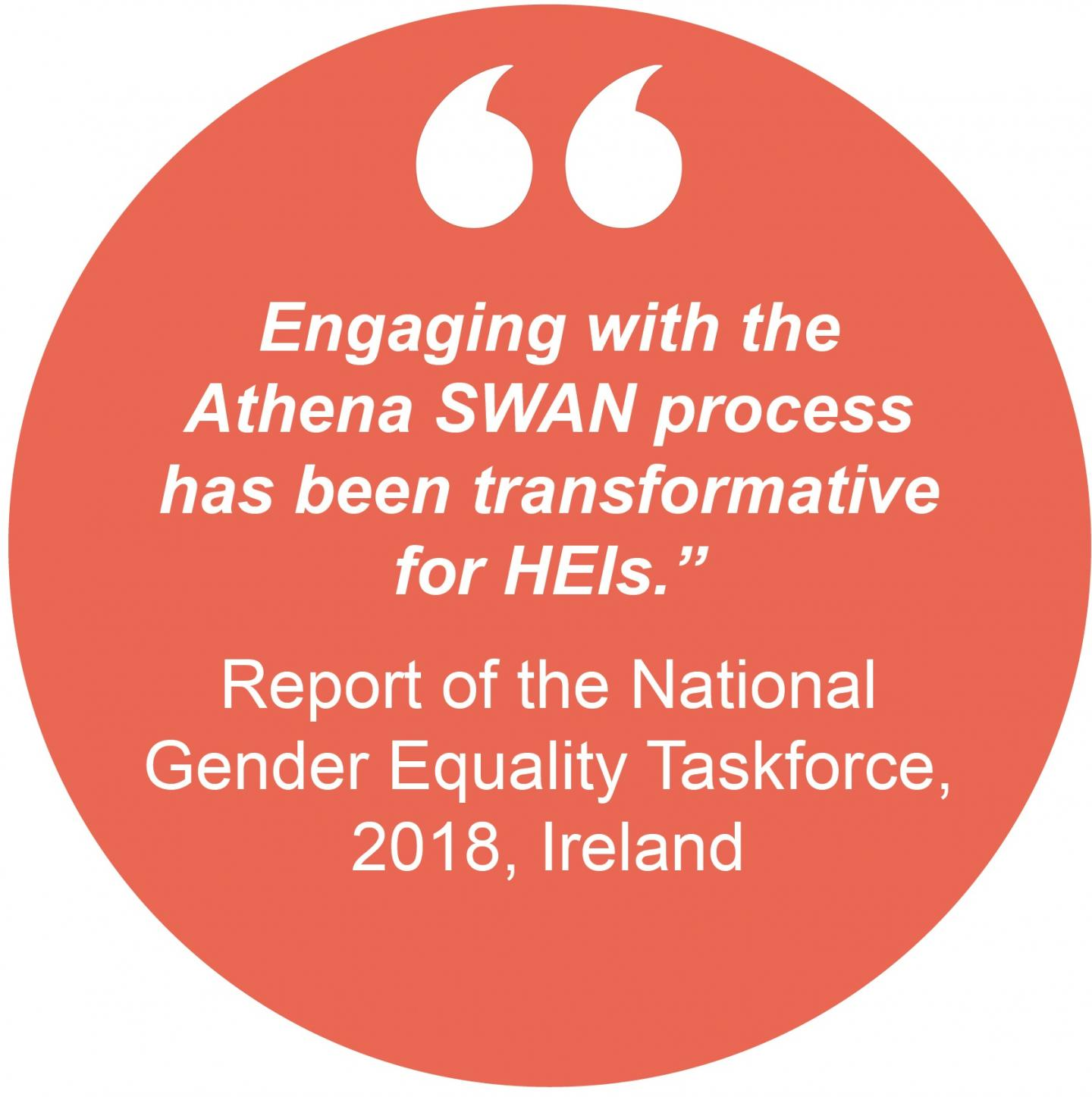 """Engaging with the Athena SWAN process has been transformative for HEIs"" Report of the National Gender Equality Taskforce, 2018, Ireland"