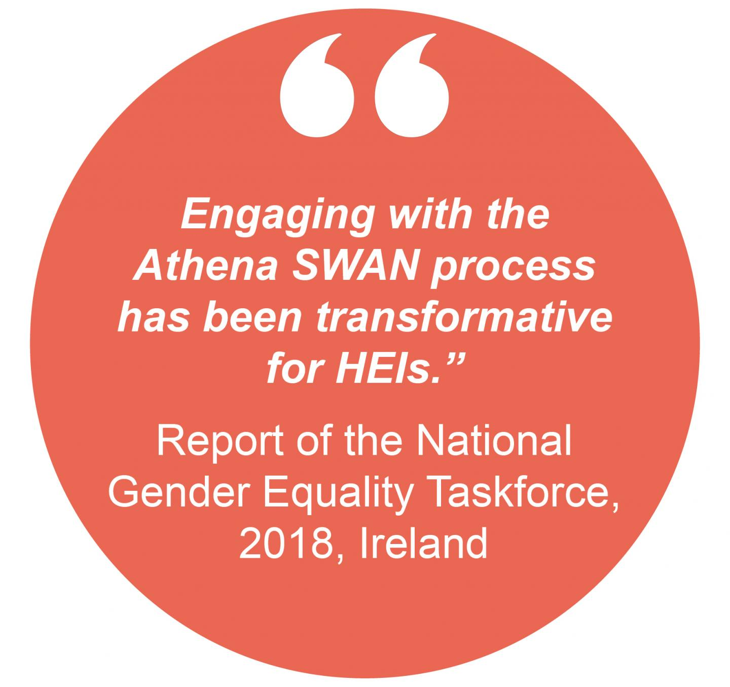 """Engaging with the Athena SWAN process has been transformative  for HEIs."" Report of the National Gender Equality Taskforce, 2018, Ireland"