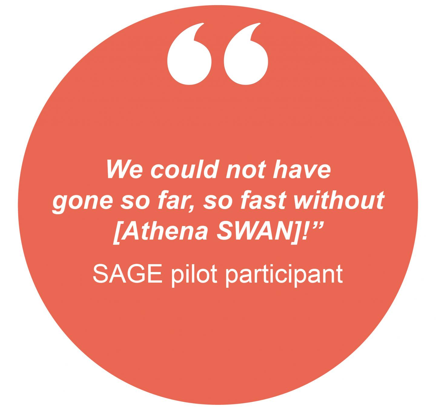 "We could not have gone so far, so fast without [Athena SWAN]!"" SAGE pilot participant"