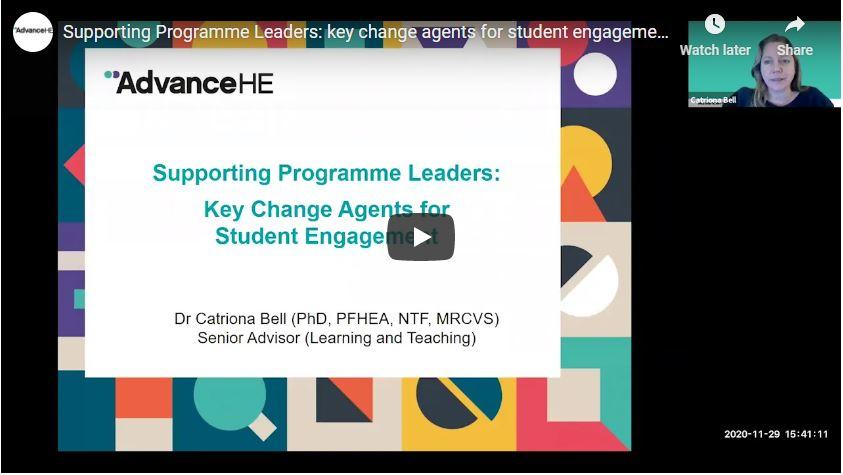 Supporting Programme Leaders: key change agents for student engagement