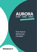 First Aurora Mentoring Checklist